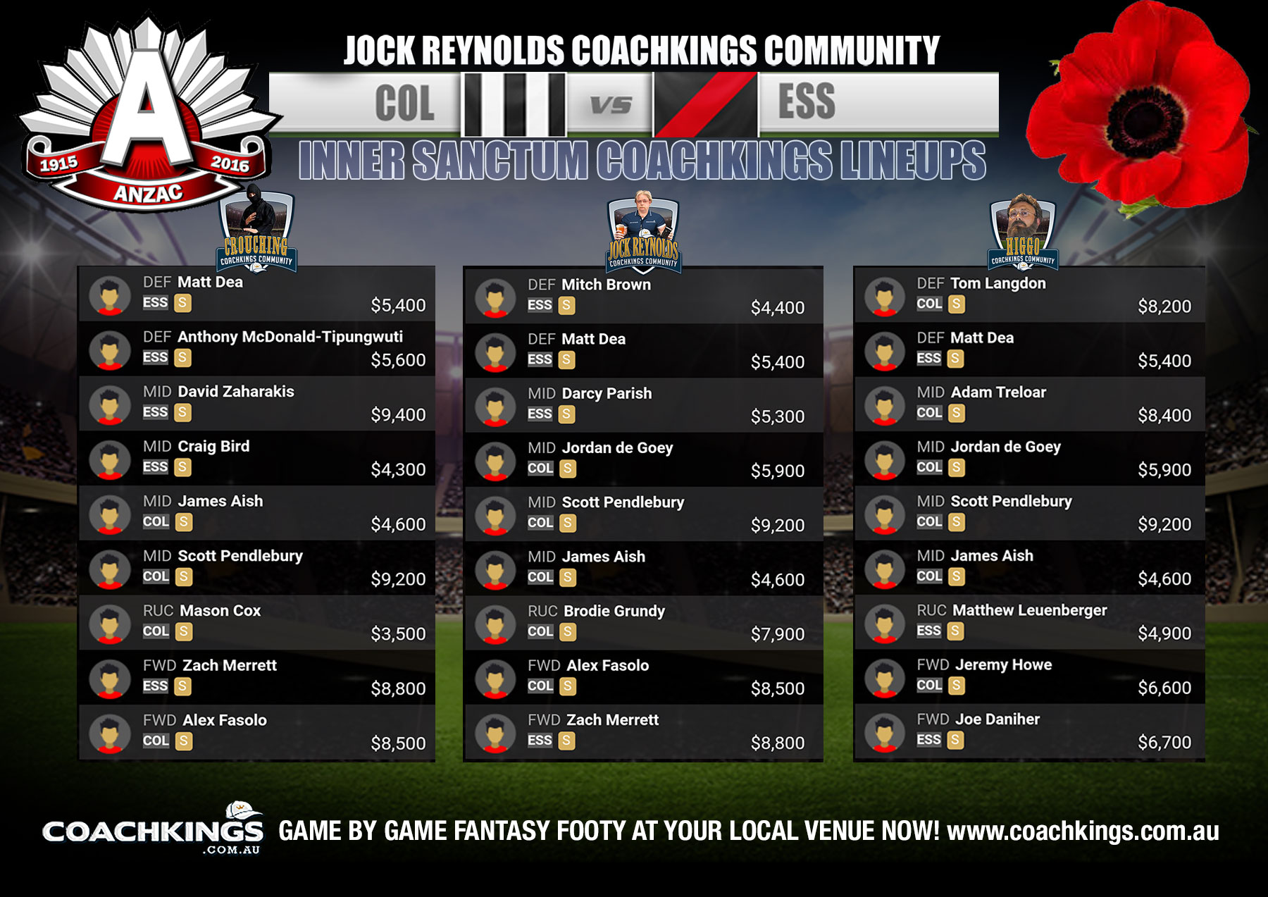ANZAC Day CoachKings Teams