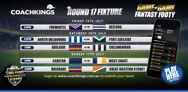 AFL CoachKings Fixture