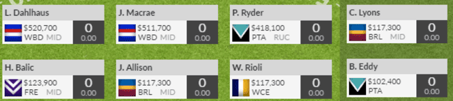 Billys SuperCoach 2017 FWD line