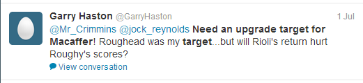Crimmo tweet upgrade target